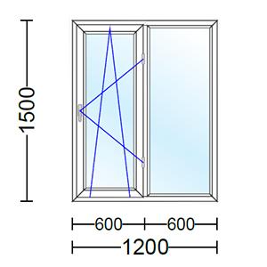 قیمت پنجره دو جداره آلومینیوم دو لنگه با یک لنگه بازشو و دو حالته