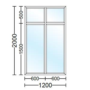 قیمت پنجره دو جداره آلومینیوم دو لنگه ( دو لت ) ثابت