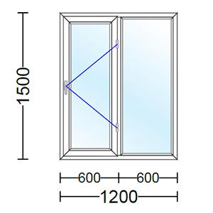 قیمت پنجره دو جداره آلومینیوم دو لنگه با یک لنگه بازشو و تک حالته