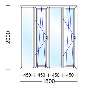 قیمت پنجره دو جداره آلومینیوم چهار لنگه با دو لنگه بازشو و دو حالته