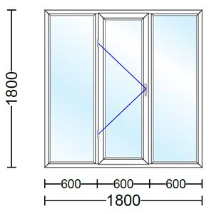 قیمت پنجره دو جداره آلومینیوم سه لنگه با یک لنگه بازشو و تک حالته