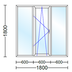 قیمت پنجره دو جداره آلومینیوم سه لنگه با یک لنگه بازشو و دو حالته