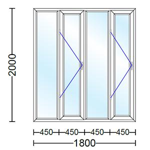 قیمت پنجره دو جداره آلومینیوم چهار لنگه با دو لنگه بازشو و تک حالته