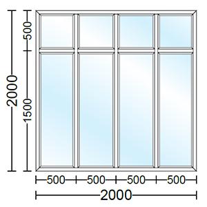 قیمت پنجره دو جداره آلومینیوم چهار لنگه ثابت