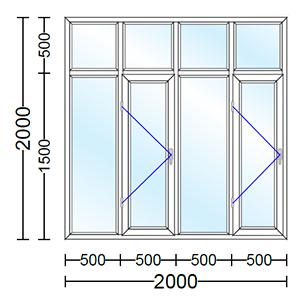 قیمت پنجره دوجداره آلومینیوم چهارلنگه با دو لنگه بازشو تک حالته
