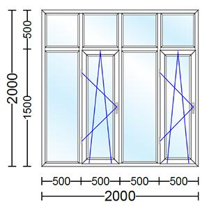 قیمت پنجره دوجداره آلومینیوم چهارلنگه با دو لنگه بازشو دوحالته
